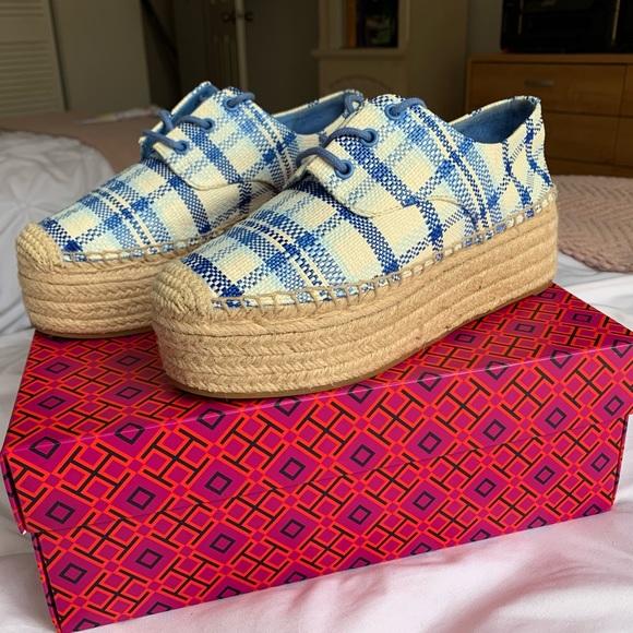 Tory Burch Shoes - Blue Plaid Tory Burch Platform Shoes